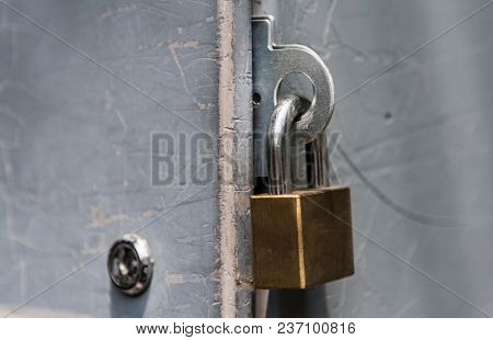 Closeup of a locked padlock