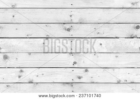 White Wooden Wall Made Of Pine Wood Boards, Seamless Flat Background Photo Texture