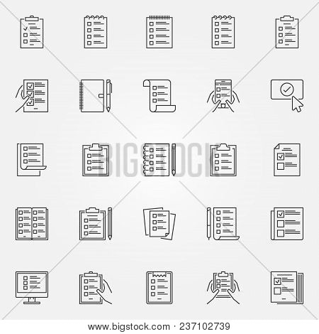 To Do List Icons Set. Vector Collection Of Check List And Tasklist Outline Symbols Or Logo Elements
