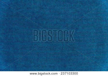 Dark Blue Velvet Background Texture. Blue Fabric Velvet