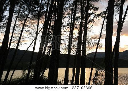 Sunset At The Terradets Reservoir, In The Catalan Pyrenees, Spain