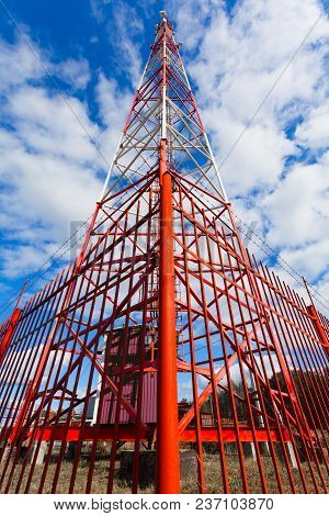 Telecommunication Tower With Panel Antennas And Radio Antennas And Satellite Dishes For Mobile Commu