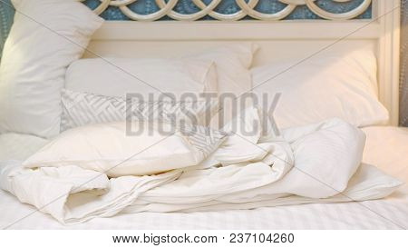 Bedclothes. Comfortable Bedding Sheets. Bed Linen. Morning Bedroom Mess