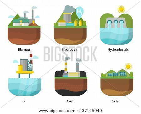 Generation Energy Types Power Plant Vector Renewable Alternative Source Solar And Tidal, Wind And Ge