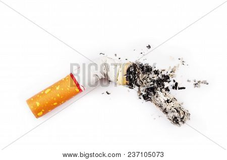 Single Cigarette Butt With Ash. Close-up. Isolated On White Background.