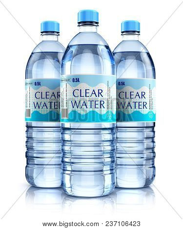 Creative Abstract 3d Render Illustration Of The Group Of Three Plastic Bottles With Clear Purified D