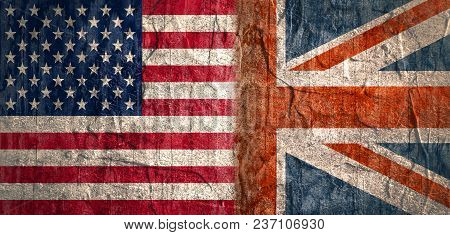 Image Relative To Politic Relationships Between Usa And Great Britain. Usa And Britain Grunge Style