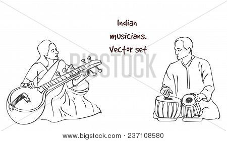 Indian Musician Playing Traditional Musical Instruments. Vector Silhouette Set