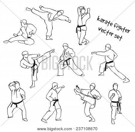 Vector Set Of Karate Fighter Silhouettes. Stock Handwritten Illustration For Design.