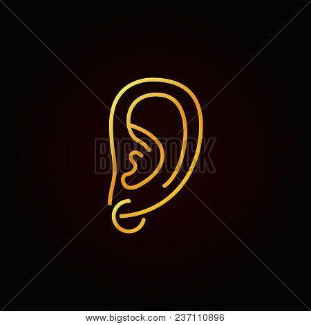Ear Piercing Golden Icon - Vector Creative Symbol Or Design Element In Thin Line Style On Dark Backg