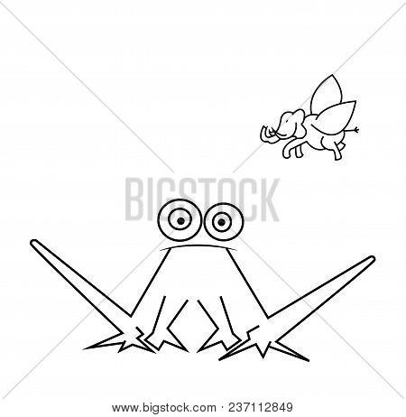 Funny Frog And Flying Elephant Isolated On White