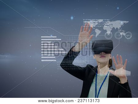 Woman in VR headset touching interface against purple background