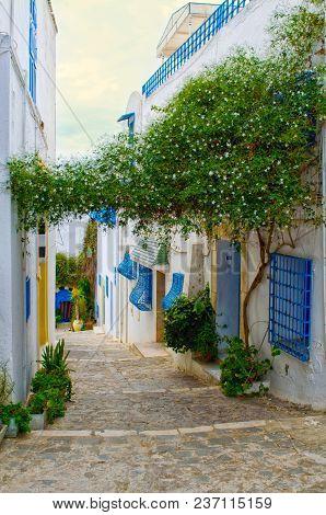 Narrow Paved Street In The Mediterranean Style In Tunisia. Sidi Bou Said