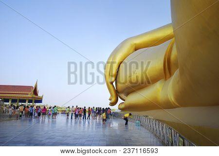 Ang Thong, Thailand - April 13, 2010 - Golden Big Bhuddha Statue At Wat Muang (muang Temple), Thaila