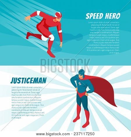 Fantastic Superheroes In Bright Costumes Horizontal Isometric Banners Set 3d Isolated Vector Illustr