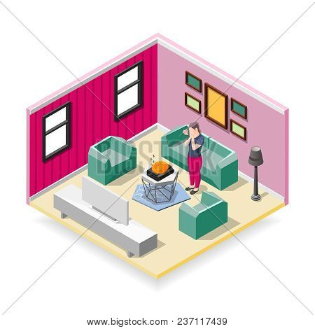 Touching Sleeping Red Cat And Affected Woman In Home Interior Isometric Composition Vector Illustrat
