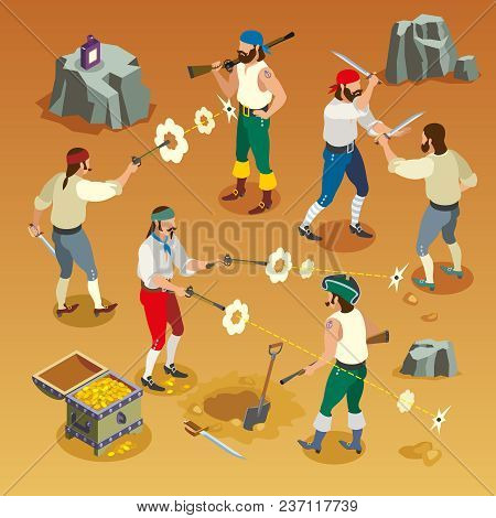 Pirates Game Isometric Composition With Men During Fight On Sand Background With Bullet Holes Vector