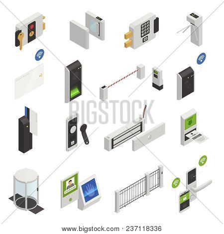 Access Identification Isometric Icons Collection Of Isolated Safeguarding System Elements Images And