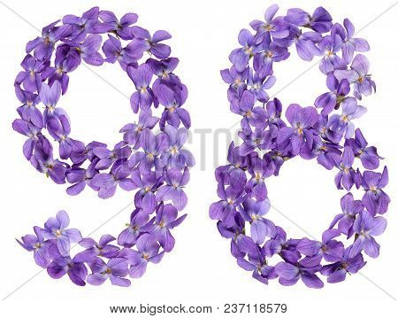 Arabic Numeral 98, Ninety Eight, From Flowers Of Viola, Isolated On White Background