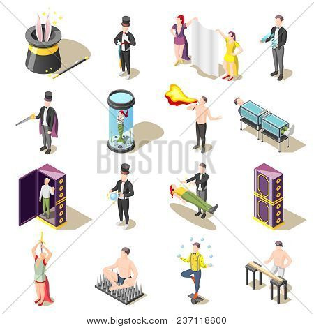 Magic Show Isometric Icons With Levitation, Danger Tricks, Juggler, Mysteries Of Illusionist Isolate