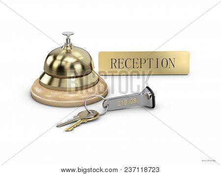 Hotel Key And Reception Bell On Reception Desk, 3d Illustartion.