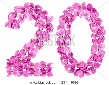 Arabic Numeral 20, Twenty, From Flowers Of Viola, Isolated On White Background