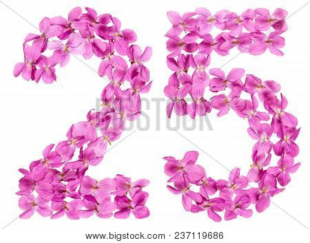 Arabic Numeral 25, Twenty Five, From Flowers Of Viola, Isolated On White Background