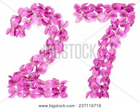 Arabic Numeral 27, Twenty Seven, From Flowers Of Viola, Isolated On White Background
