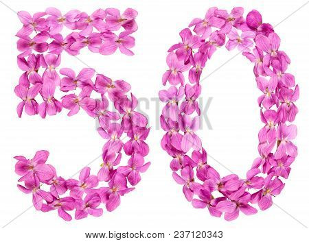 Arabic Numeral 50, Fifty, From Flowers Of Viola, Isolated On White Background