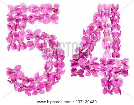 Arabic Numeral 54, Fifty Four, From Flowers Of Viola, Isolated On White Background