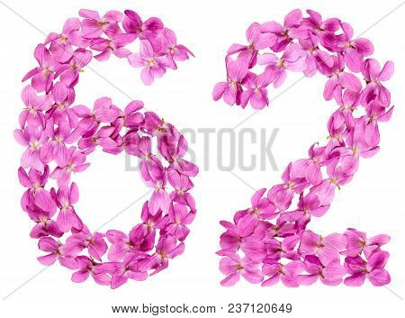 Arabic Numeral 62, Sixty Two, From Flowers Of Viola, Isolated On White Background