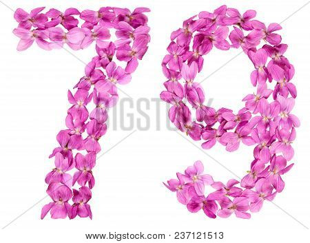 Arabic Numeral 79, Seventy Nine, From Flowers Of Viola, Isolated On White Background