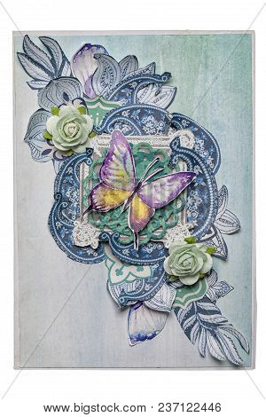 Postcard In The Style Of Scrapbooking With A Butterfly And Roses. Concept Of Handwork