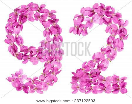 Arabic Numeral 92, Ninety Two, From Flowers Of Viola, Isolated On White Background