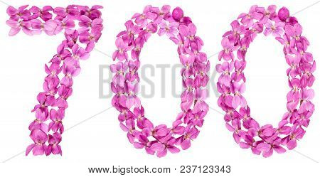 Arabic Numeral 700, Seven Hundred, From Flowers Of Viola, Isolated On White Background