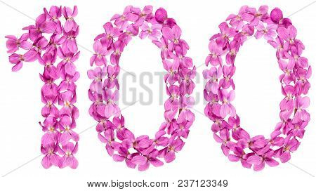 Arabic Numeral 100, One Hundred, From Flowers Of Viola, Isolated On White Background