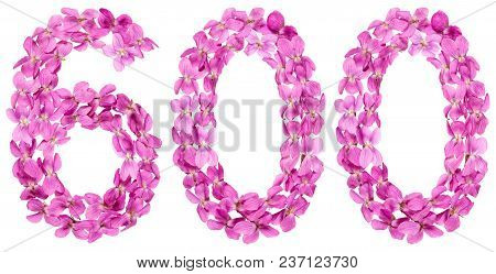 Arabic Numeral 600, Six Hundred, From Flowers Of Viola, Isolated On White Background