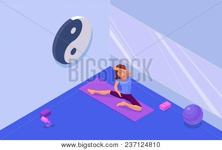 Yoga Studio Interior With Woman Doing Physical Fitness Exercise, Isometric 3d Vector Illustration Wi