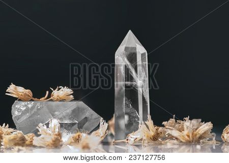 Large Clear Pure Great Royal Crystal Of Quartz Chalcedony On Black Background Closeup