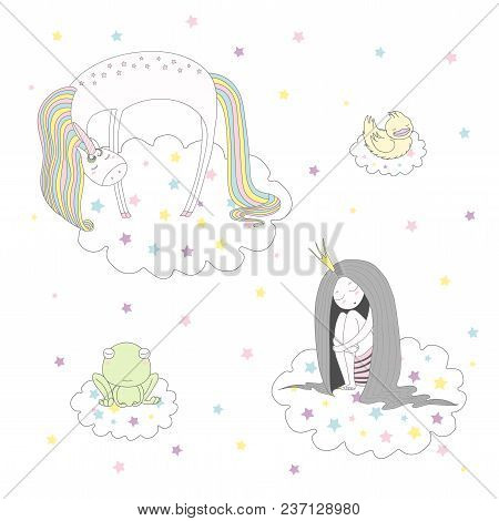 Hand Drawn Vector Illustration Of A Cute Funny Unicorn, Duck, Frog And Princess With Long Hair Float