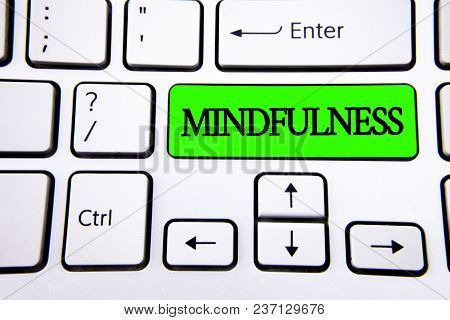 Word Writing Text Mindfulness. Business Concept For Being Conscious Awareness Calm Accept Thoughts A