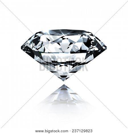 Diamond isolated on white - realistic  illustration  -  raster version