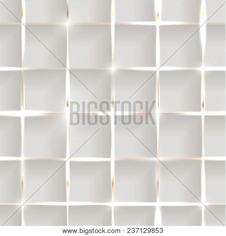 Seamless illustration of shiny metallic golden grid on grey background with 3d effect and glossy elements with flares  -  raster version