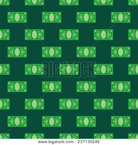 Money Pattern On Green Background. Seamless Pattern Green Dollar Bills. Green Money Cash On Pattern