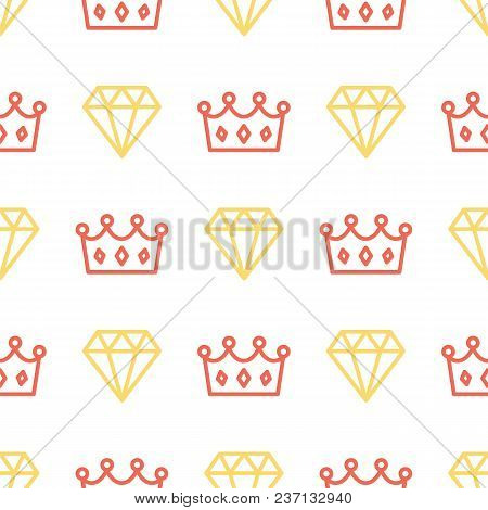 Royal Crown And Brilliant On Seamless Pattern Background. King And Queen Crown And Diamond Outline O