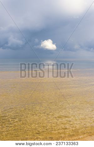Beautiful White Clouds In The Dark Blue Sky Above The Green Water Of The Baltic Sea Before The Rain