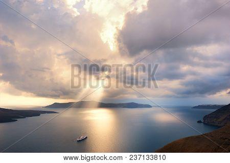 Beautiful Sunset At Santorini Island, Greece. Summer Landscape, Sea View