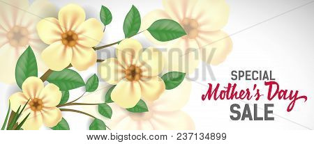 Special Mother Day Sale Lettering With Yellow Flowers. Mothers Day Sale Advertising. Handwritten And