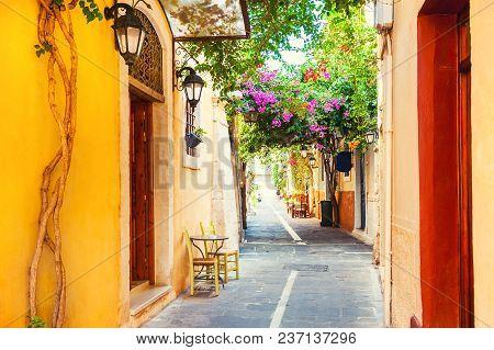 Beautiful Cozy Street In Rethymno, Crete Island, Greece.