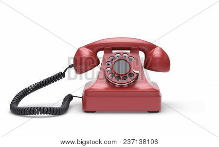 Red Retro Telephone Isolated On White. 3d Rendering With Clipping Path